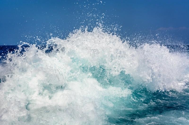 Waves splashing.