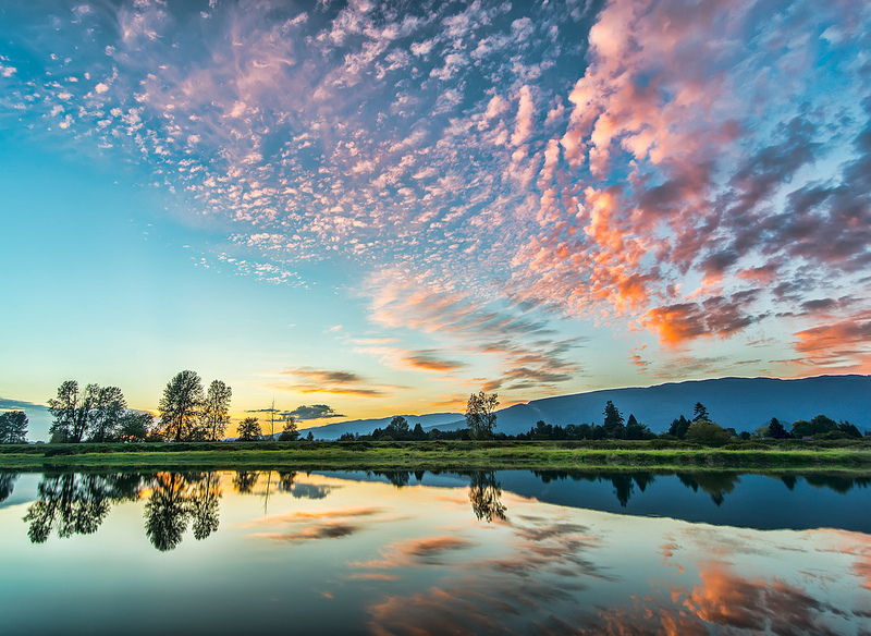 Reflections and clouds at sunset.
