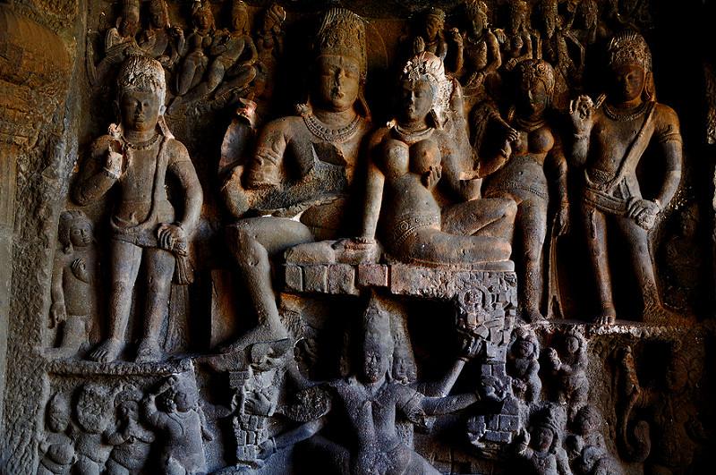 Ellora Caves statues.