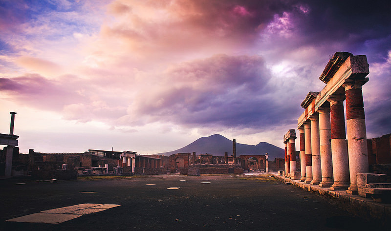 Pompeii at twilight.
