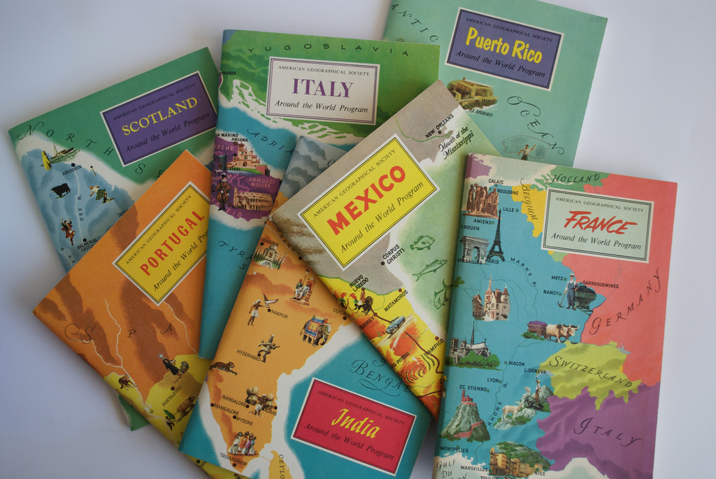 Travel guides and maps.