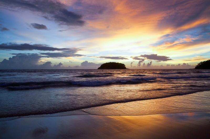 Sunset on a beach.