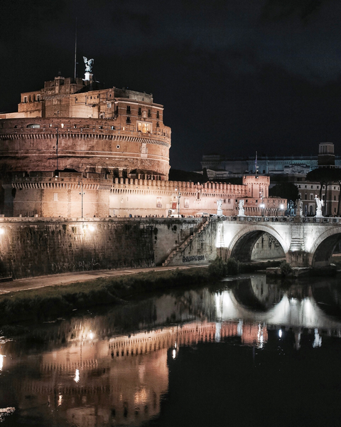 Castel Sant'Angelo on the River Tiber by night. Rome. Photo by Marko Morciano